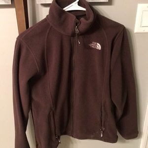 Brown The North Face fleece jacket